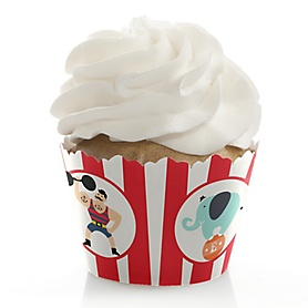 Carnival - Cirque du Soirée - Birthday Decorations - Party Cupcake Wrappers - Set of 12