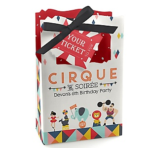 Circus / Carnival - Cirque du Soirée - Personalized Birthday Party Favor Boxes - Set of 12