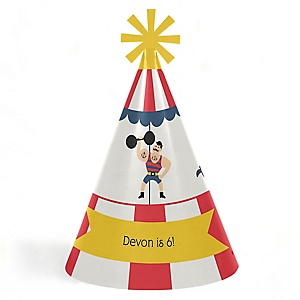 Carnival - Cirque du Soirée - Personalized Cone Happy Birthday Party Hats for Kids and Adults - Set of 8 (Standard Size)