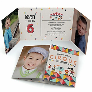 Circus / Carnival - Cirque du Soirée - Personalized Birthday Party Photo Invitations - Set of 12