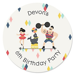 Carnival - Cirque du Soirée - Personalized Birthday Party Sticker Labels - 24 ct