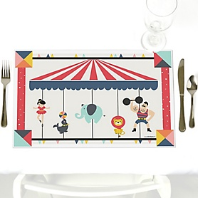 Carnival - Cirque du Soirée - Party Table Decorations - Baby Shower or Birthday Party Placemats - Set of 12