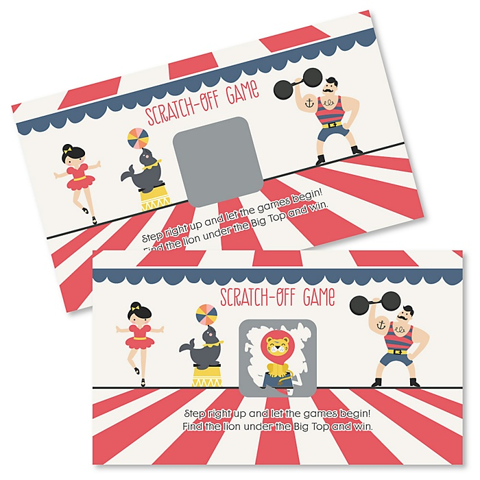 Carnival - Cirque du Soirée - Baby Shower or Birthday Party Game Scratch Off Cards - 22 ct