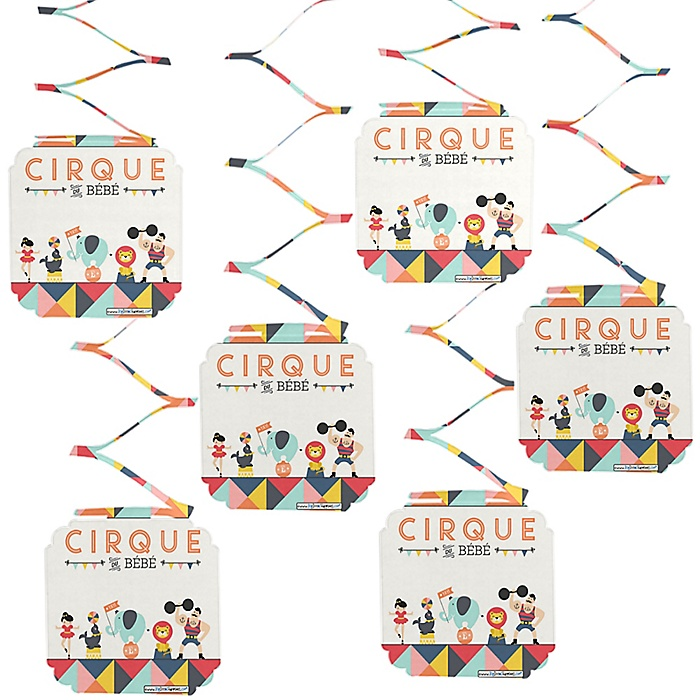 Carnival - Cirque du Bebe - Baby Shower Hanging Decorations - 6 ct