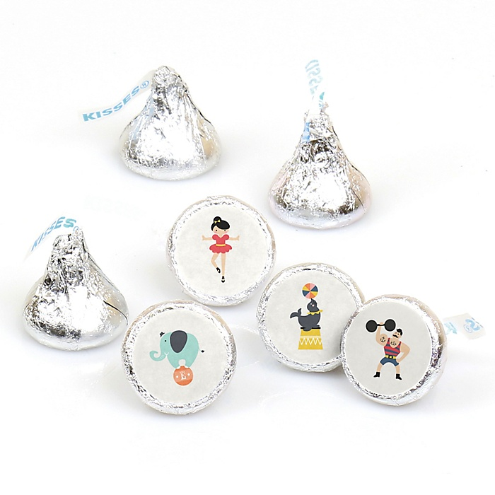 Carnival - Cirque du Soirée - Round Candy Labels Baby Shower Favors - Fits Hershey's Kisses - 108 ct