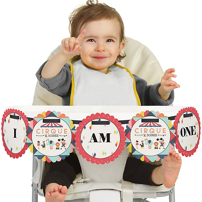 Carnival - Cirque du Soirée 1st Birthday - I am One - First Birthday High Chair Banner