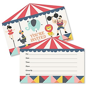 Carnival - Cirque du Soirée - Shaped Fill-In Invitations - Baby Shower or Birthday Party Invitation Cards with Envelopes - Set of 12