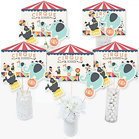 Carnival - Cirque du Soirée - Baby Shower or Birthday Party Centerpiece Sticks - Table Toppers - Set of 15