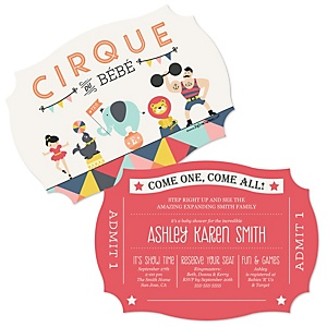 Circus / Carnival - Cirque du Bebe - Shaped Baby Shower Invitations - Set of 12