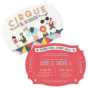 Circus / Carnival - Cirque du Soirée - Shaped Birthday Party Invitations - Set of 12
