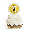 Neutral Baby Carriage - 12 Cupcake Picks & 24 Personalized Stickers - Baby Shower Cupcake Toppers