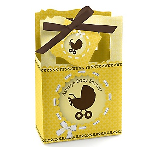 Neutral Baby Carriage - Personalized Baby Shower Favor Boxes