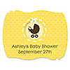 Neutral Baby Carriage - Personalized Baby Shower Squiggle Stickers - 16 ct