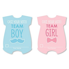 Gender Reveal Cast Your Vote Cards - Baby Gender Prediction Card Game - Set of 24