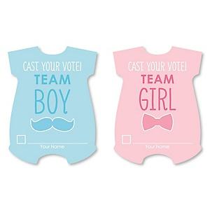 Gender Reveal Cast Your Vote Cards - Baby Gender Prediction Card Game - Set of 24
