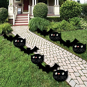 Black Cats And Bats - Cat and Bat Lawn Decorations - Outdoor Halloween Yard Decorations - 10 Piece