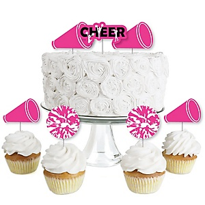 We Got Spirit - Cheerleading - Dessert Cupcake Toppers - Birthday Party or Cheerleader Party Clear Treat Picks - Set of 24