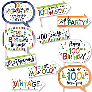 Funny 100th Birthday - Cheerful Happy Birthday - 10 Piece Colorful One Hundredth Birthday Party Photo Booth Props Kit