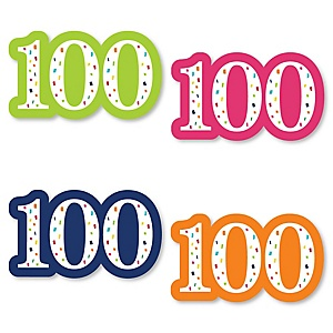 100th Birthday - Cheerful Happy Birthday - DIY Shaped Colorful One Hundredth Birthday Party Cut-Outs - 24 ct
