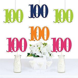 100th Birthday - Cheerful Happy Birthday - Decorations DIY Colorful One Hundredth Birthday Party Essentials - Set of 20