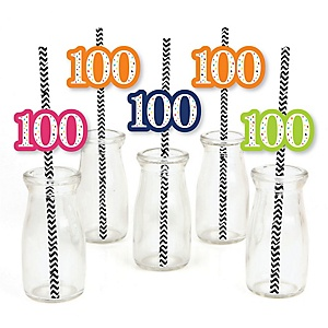 100th Birthday - Cheerful Happy Birthday - Paper Straw Decor - Colorful One Hundredth Birthday Party Striped Decorative Straws - Set of 24