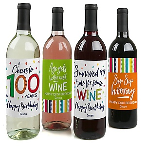 100th Birthday - Cheerful Happy Birthday - Decorations for Women and Men - Wine Bottle Label Colorful One Hundredth Birthday Party Gift - Set of 4