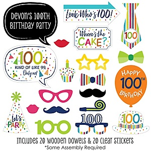 100th Birthday - Cheerful Happy Birthday - 20 Piece Colorful One Hundredth Birthday Party Photo Booth Props Kit
