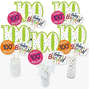 100th Birthday - Cheerful Happy Birthday - Colorful One Hundredth Birthday Party Centerpiece Sticks - Table Toppers - Set of 15