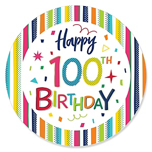 100th Birthday - Cheerful Happy Birthday - Colorful One Hundredth Birthday Party Theme