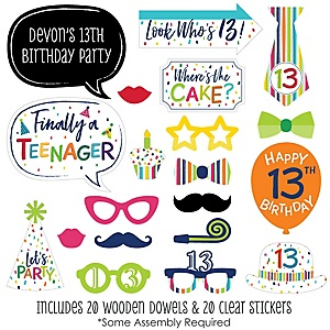 13th Birthday - Cheerful Happy Birthday - 20 Piece Colorful Thirteenth Birthday Party Photo Booth Props Kit