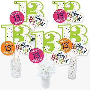 13th Birthday - Cheerful Happy Birthday - Colorful Thirteenth Birthday Party Centerpiece Sticks - Table Toppers - Set of 15