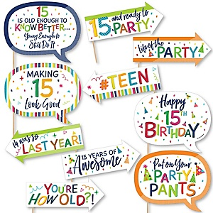 Funny 15th Birthday - Cheerful Happy Birthday - 10 Piece Colorful Fifteenth Birthday Party Photo Booth Props Kit