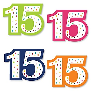 15th Birthday - Cheerful Happy Birthday - DIY Shaped Colorful Fifteenth Birthday Party Cut-Outs - 24 ct