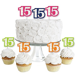 15th Birthday - Cheerful Happy Birthday - Dessert Cupcake Toppers - Colorful Fifteenth Birthday Party Clear Treat Picks - Set of 24
