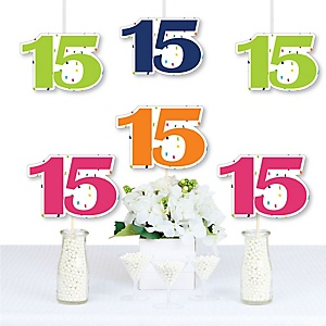 15th Birthday - Cheerful Happy Birthday - Decorations DIY Colorful Fifteenth Birthday Party Essentials - Set of 20