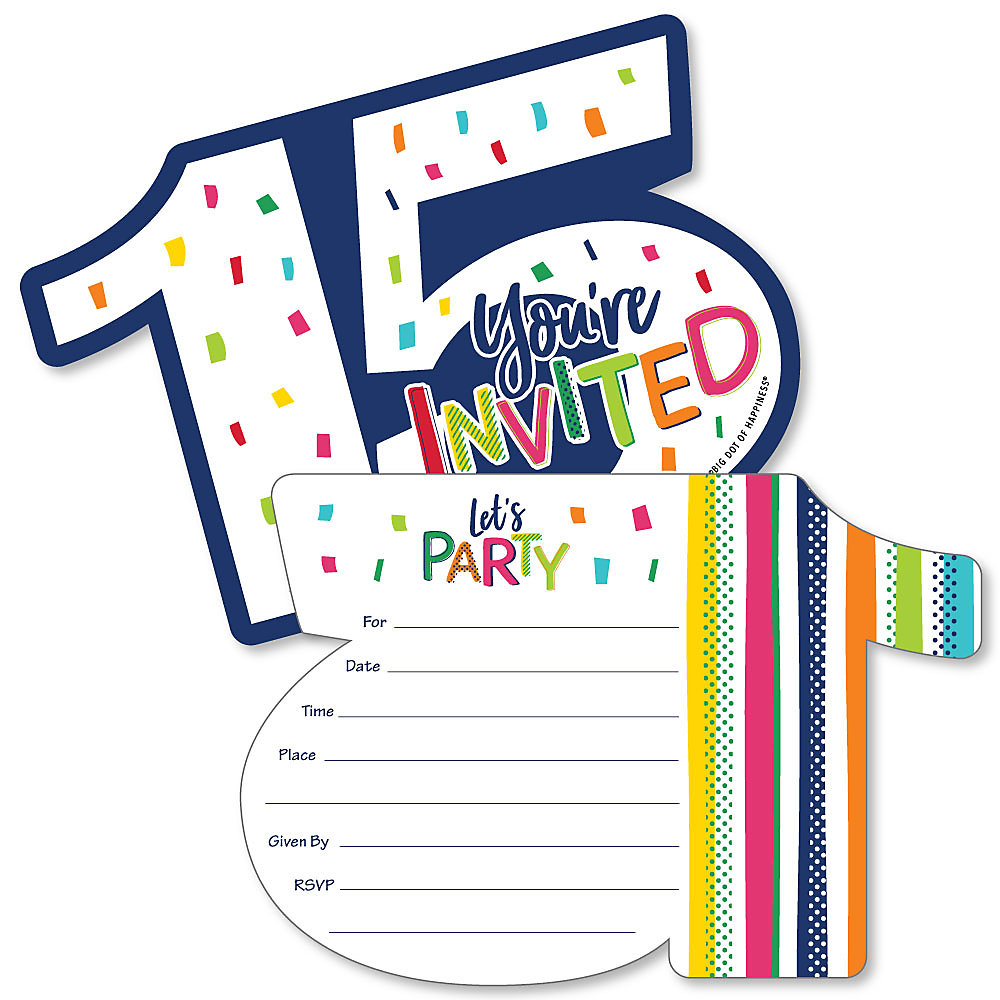 15th Birthday Cheerful Happy Birthday Shaped Fill In Invitations Colorful Fifteenth Birthday Party Invitation Cards With Envelopes Set Of 12