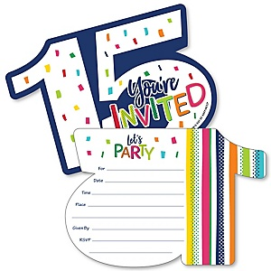15th Birthday - Cheerful Happy Birthday - Shaped Fill-In Invitations - Colorful Fifteenth Birthday Party Invitation Cards with Envelopes - Set of 12