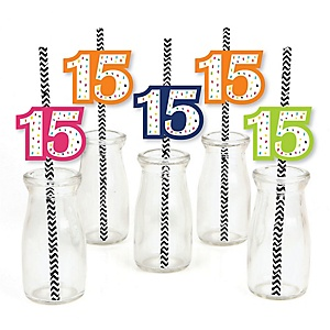 15th Birthday - Cheerful Happy Birthday - Paper Straw Decor - Colorful Fifteenth Birthday Party Striped Decorative Straws - Set of 24