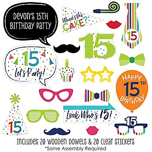 15th Birthday - Cheerful Happy Birthday - 20 Piece Colorful Fifteenth Birthday Party Photo Booth Props Kit