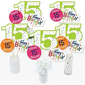 15th Birthday - Cheerful Happy Birthday - Colorful Fifteenth Birthday Party Centerpiece Sticks - Table Toppers - Set of 15
