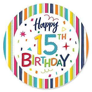 15th Birthday - Cheerful Happy Birthday - Colorful Fifteenth Birthday Party Theme