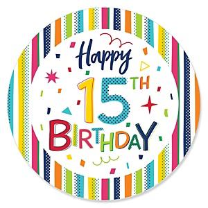 15th Birthday - Cheerful Happy Birthday - Colorful Fifteenth Birthday Party Theme