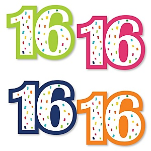 16th Birthday - Cheerful Happy Birthday - DIY Shaped Colorful Sixteen Birthday Party Cut-Outs - 24 ct