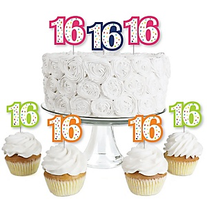 16th Birthday - Cheerful Happy Birthday - Dessert Cupcake Toppers - Colorful Sixteen Birthday Party Clear Treat Picks - Set of 24