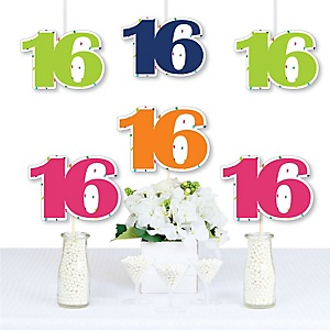 16th Birthday - Cheerful Happy Birthday - Decorations DIY Colorful Sixteen Birthday Party Essentials - Set of 20