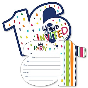 16th Birthday - Cheerful Happy Birthday - Shaped Fill-In Invitations - Colorful Sixteen Birthday Party Invitation Cards with Envelopes - Set of 12