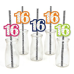 16th Birthday - Cheerful Happy Birthday - Paper Straw Decor - Colorful Sixteen Birthday Party Striped Decorative Straws - Set of 24