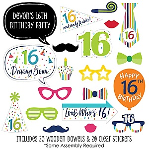 16th Birthday - Cheerful Happy Birthday - 20 Piece Colorful Sixteen Birthday Party Photo Booth Props Kit