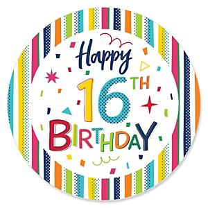 16th Birthday - Cheerful Happy Birthday - Colorful Sixteen Birthday Party Theme