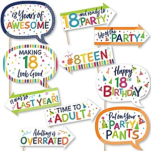 Funny 18th Birthday - Cheerful Happy Birthday - 10 Piece Colorful Eighteenth Birthday Party Photo Booth Props Kit